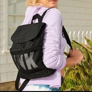 Pink By Victoria's Secret Black Mesh Mini Backpack